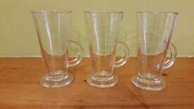 Set of three latte coffee glasses