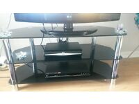 ***SOLD***Black Glass TV Unit & Console Table For Sale