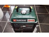Parkside 1200w generator. Easy to start up. But no electricity
