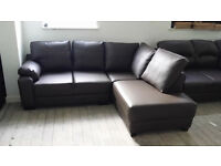 NEW Graded Brown Faux Leather Corner Sofa Suite Free Local Delivery