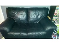 black leather 3 and 2 seater