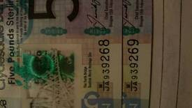 2 five pound notes