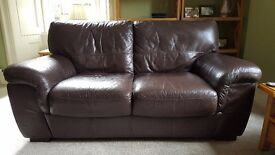 Violino 2 seater dark brown leather sofa in very good condition
