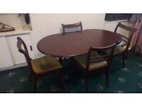 Mahogany dining table, chairs and matching sideboard