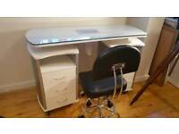 Glass Top Manicure Table with Draft Vent and 2 Swivel Chairs