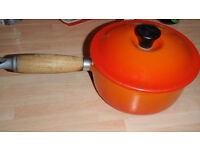 Le Creuset cast iron pots pans Volcanic Orange vintage