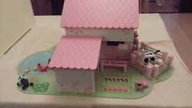ELC Rosebud Wooden double - sided Farmhouse with all characters.