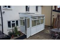White uPVC lean-to conservatory