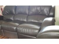 Will swap excellent brown leather reclining 3, 2, 1 plus large footstool for leather corner suite