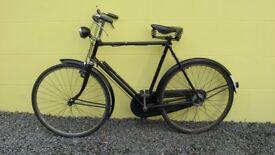 Old Vintage HUMBER Gentlemans Black BICYCLE with DUNLOP Seat & Dyno Hub