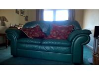Good Quality Leather Sofas, matching 3 and 2 seat in green
