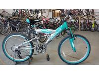 OLDER GIRLS MALIBU WHIRLWIND BIKE 22 INCH WHEELS FULL SUSPENSION 6 SPEED TURQUOISE/SILVER GOOD COND