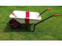 Unused distinctive metal Chillington wheel barrow painted as English flag