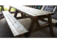 Extra large 10 -12 seat pub style picnic benches. (2.4 meters long)