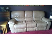 3 seater leather recliner sofa x 2