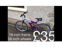 Ladies Mountain Bikes £30 - £75 mountain bike cycle commuter student mtb full working order