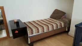 Single Day Bed (Solid dark wood with storage) Vintage/Shabby-Chic/Antique