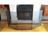 Five Panel Black Mesh Adjustable Fire Guard - Safety Fire Screen - Pen