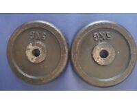 2 x 5kg weight plates (steel)