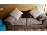 3 seater jumbo cord fabric sofa with brown faux base