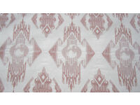 Pink & White Quality Damask Curtains & Upholstery Fabric Material NEW!