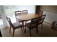 Nathan dining table and six chairs