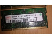 DDR2 PC2-5300s Laptop Memory 512mb