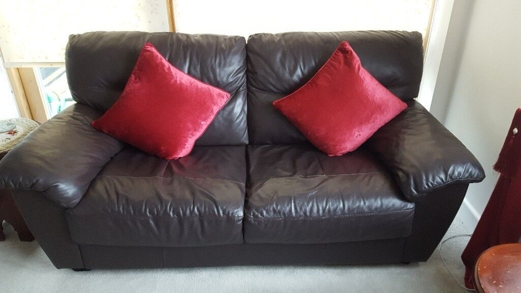 Good Condition 3 And 2 Seater Dark Brown Leather Sofas Cushions Are Not Included In Harlow Essex Gumtree