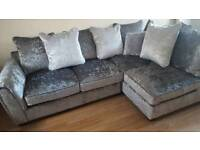 BLACK FRIDAY SALE!!! Brand New Crushed Velvet Corner Sofa Silver DELIVERY AVAILABLE