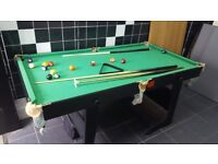 pool table with cues balls on stand solid