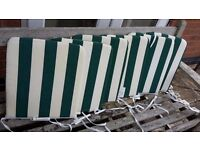 For Sale 6 Green & White Stripe Seat Pads