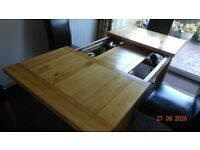 Solid Oak Extendable Dining Table + 4 FREE leather chairs