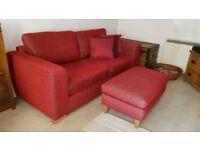 SOFA - JUST REDUCED - John Lewis Felix Large Sofa - Crimson Chenille Fabric