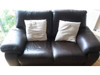 2 x 2 SEATER BROWN LEATHER SOFAS FOR SALE
