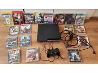 Playstation 3 250gb controller and 18 games