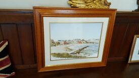 watercolour painting of Cullercoats by R Thornton