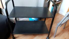 2 shelf hi-fi unit with wheels, portable table as new