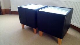 Brown faux leather side tables x2