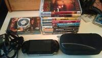 SONY PSP WITH CHARGER, HARD SHELL CASE, 3 GAMES AND 9 MOVIES