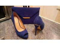 Royal blue ladies shoes and clutch bag for sale