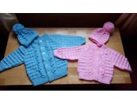 Beutiful hand knitted baby sets. Also hand knitted Aran & Cables from birth t 5 years made to order