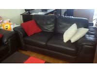 3 &2 seater real leather sofas, dining suite, computer table, 3 double and 1 single bed