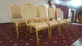 Gold Banqueting chairs, wedding chairs. restaurant chairs, metal frame stack-able