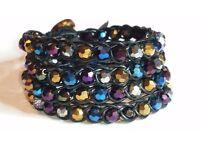 Quad, (4 way) dark crystal braided wrap bracelet on fine black leather - The Crystal Maze