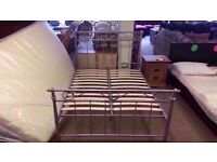 GOOD CONDITION! 4ft 6 metal bed frame (silver) double bed wooden slats