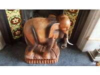 solid wood hand carved African elephant ( very heavy )