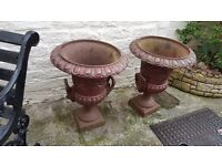 pair of cast iron ornate garden planters, lion mask urns