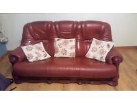 3 Piece Red Leather Suite - Couch / Sofa - 2 Arm Chairs