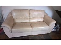 Large Cream 2 Seater Leather Sofa Bed only £30