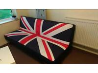 Sofa bed, union jack, click clac system